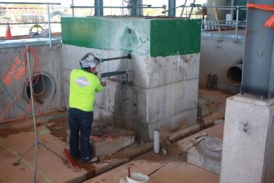 Core drilling 1.8 meters deep