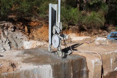 Samson Brook Dam, Cutting around concrete encased steel pipe – Water Corporation